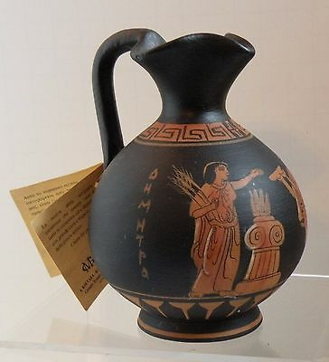 dsa 210 ANCIENT GREEK ATTIC POTTERY REPRODUCTION DEMETER, artist signed with tag • CAD $37.74