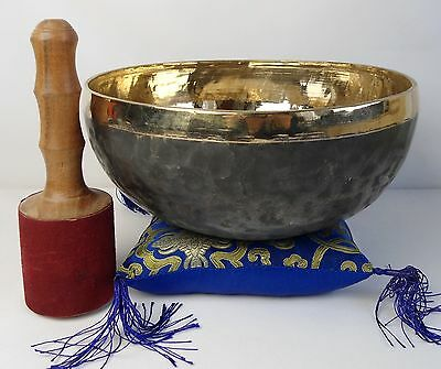 Bol chantant tibétain Noir et Or + coussin - 2040 gr  26,5 cm - Singing bowl