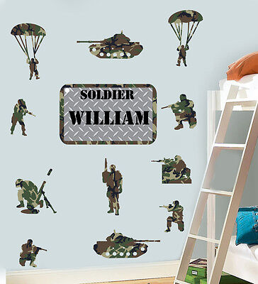 Personalised Army Pack of 12 - Wall Art Stickers Soldier Soldiers Tank Military