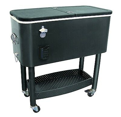 Rolling Cooler Cart - Black - 65 Quart - Mobile Party Drink Chest - Catering/Bar