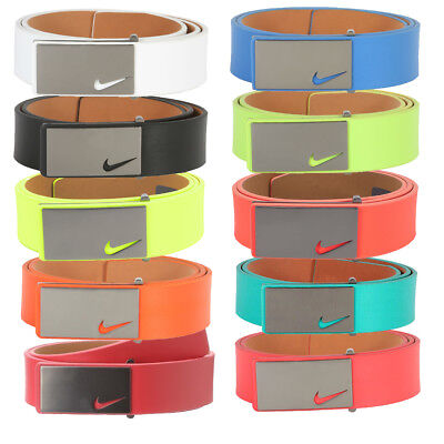 New Nike Mens Sleek Modern Plaque Leather Golf Belt - Pick Color & Size
