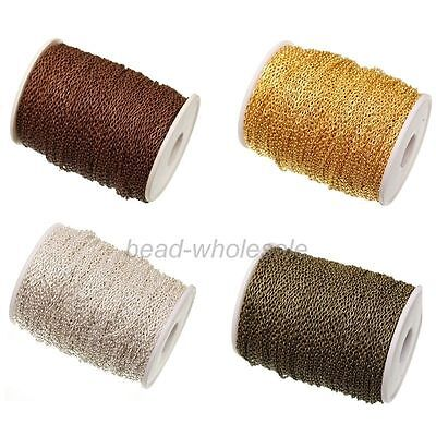 5/100m Silver/Gold Plated Cable Open Link Iron Metal Chain Findings DIY 4 Colors