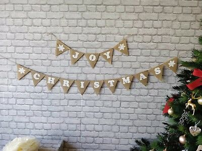 2 Sets Christmas Noel Joy Felt Bow Burlap Banner Garland Hessian Home warming