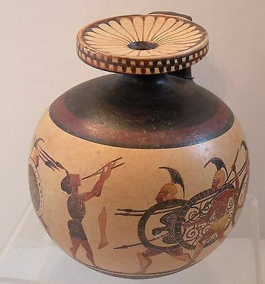 dsa 214 FINE ANCIENT GREEK ATTIC POTTERY REPRODUCTION  ARYBALLOS, HOPLITES FLUTE