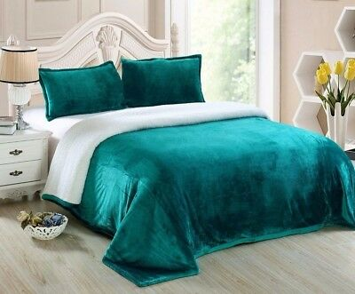 Chezmoi Collection Reversible Micro-Mink Sherpa Throw Blanket Twin, Teal