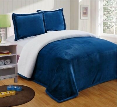 Chezmoi Collection Reversible Micro-mink Sherpa Throw Blanket King, Navy