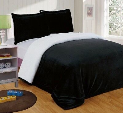 Chezmoi Collection Reversible Micro-mink Sherpa Throw Blanket Queen, Black