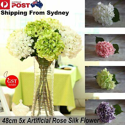 New 5 x Rose Artificial Silk Peony Flower Arrangement Hydrangea DIY Wedding Deco