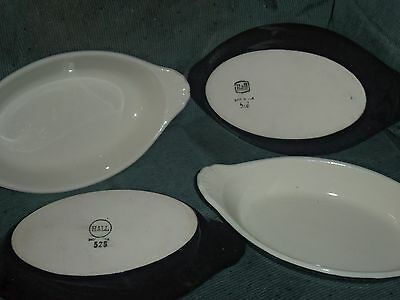 "Hall Au Gratin Dish Oval Black #528 Lot of 4 Made in USA 9"" Long with Handles EC"