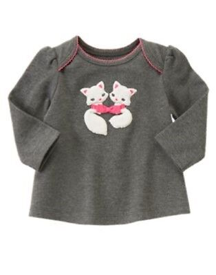 GYMBOREE FUN FLURRIES GRAY w/ FOXES KNIT L/S FASHIONABLE TOP 0 3 6 12 18 NWT