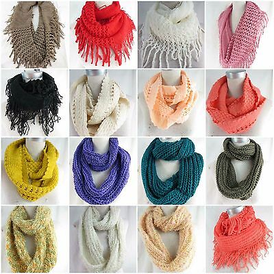 US SELLER-5pc wholesale double loop knit infinity scarf womens scarves infinity