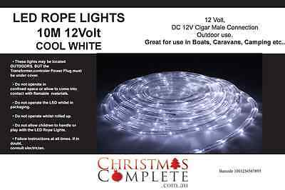10M LED WHITE 12 Volt Rope Lights - Ideal for Boats, 4WD , caravans, Male cigar
