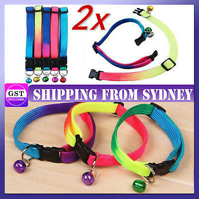 1x Adjustable Pet Dog Collar Colourful Small Pets Cat Puppy Harness Walking Glow