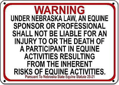 NEBRASKA Equine Sign activity liability warning statute horse farm barn stable