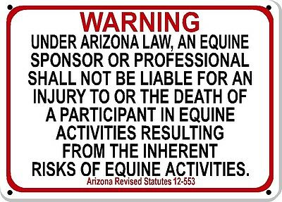 ARIZONA Equine Sign activity liability warning statute horse farm barn stable