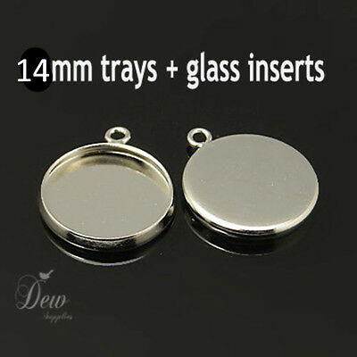 10x 14mm Platinum pendant earring tray setting with glass dome inserts jewelry