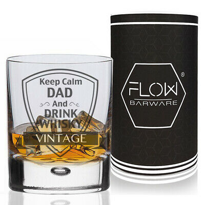 Personalised For Dad Keep Calm Whisky Glass Fathers Day, Xmas Whiskey Gift Boxed