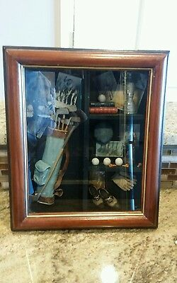 Historical Golf Display Shadowbox with Clubs/Balls/Photos and Wooden Frame