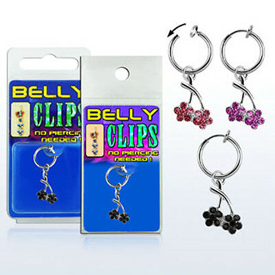Fake Belly Button Ring Non Piercing Navel Clip On Clear Dangly