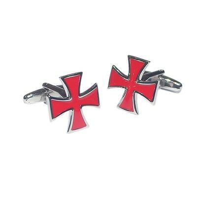 Red Maltese Cross Cufflinks Malta Flag In Gift Pouch Silver Back New