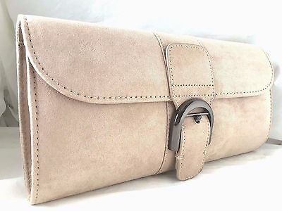 New Grey Faux Suede Evening Day Clutch Bag Prom Wedding Party Club Shoulder