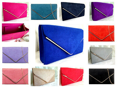 New Nude Royal Blue Red Fuchsia Pink Grey Faux Suede Evening Day Clutch Bag
