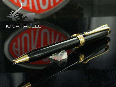 Aurora Ipsilon Ballpoint pen, Black Resin, Gold trim, B32N