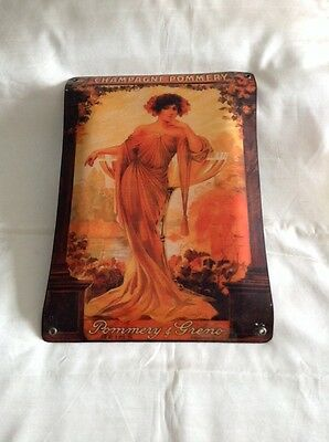 """""""champagne Pommery"""" Vintage Metal Tin Women's Figure Wall Sign - 112"""