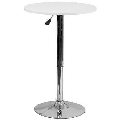 Flash Furniture Round Adjustable Height White Wood Table - CH-2-GG