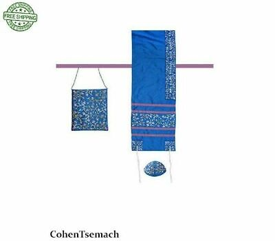 Yair Emanuel Women's Tallit Set – Blue Flowers