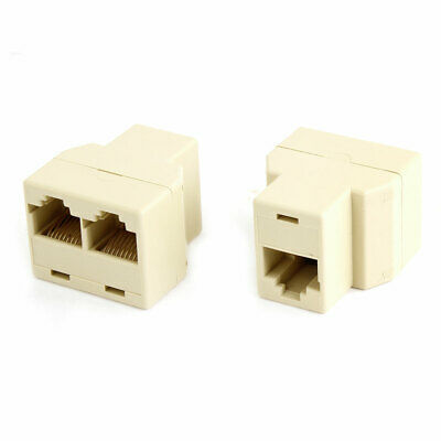2 x Beige Plastic RJ45 to 2 RJ45 Network Cable Adapter