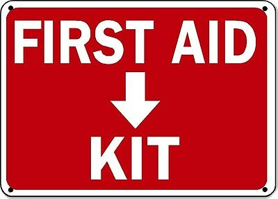 "First Aid Kit with Down Arrow Sign - 10"" x 14"" OSHA Safety Sign"