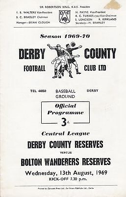 DERBY COUNTY v BOLTON WANDERERS RESERVES ~ 13 AUGUST 1969