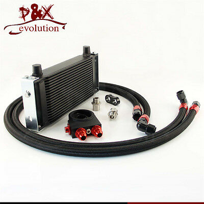 19 row New-style Universal AN10 oil cooler+ thermostat Sandwich Plate kit Black