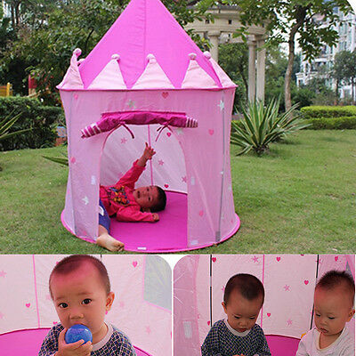 Portable Pink Fairy Princess Castle Play Tent House Children Kids Outdoor Indoor