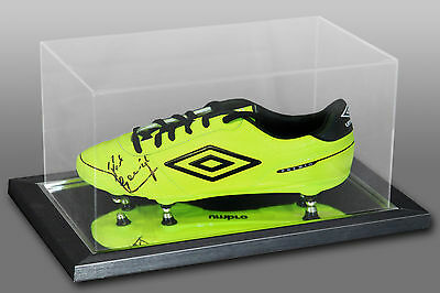 * New * Paul Gascoigne Signed Yellow Football Boot Presented In An Acrylic Case