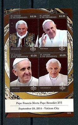 St Vincent & Grenadines 2015 MNH Pope Francis Meets Pope Benedict 4v M/S Popes