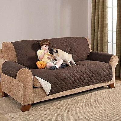 Reversible Furniture Protector Quilted Brown Slipcover Sofa Love Seat Cover NEW!