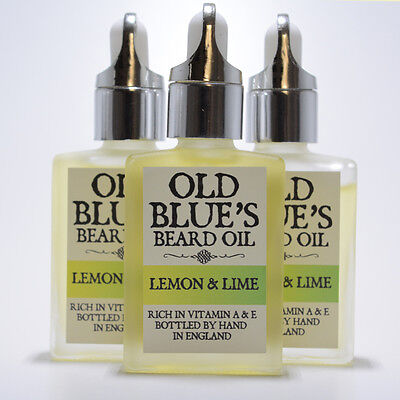 Old Blues Beard Oil  Lemon & Lime Scent 100% Natural with Vitamin E 30ml