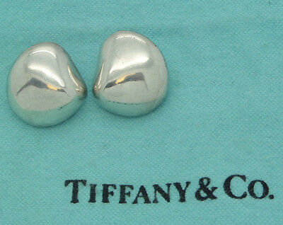 TIFFANY & Co 925 STERLING SILVER MEXICO ABSTRACT PUFFED POST AUTHENTIC EARRINGS