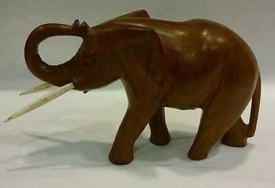 "Vintage 1960's Hand Carved in Kenya Solid Teak Wood Elephant Statue 5"" Tall"