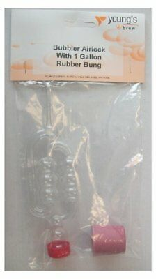 Youngs Brew Home Brewing Bubbler Airlock With 1 Gallon Rubber Bung