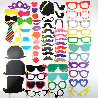 50pcs DIY Photo Booth Props Mustache Stick Wedding Birthday Christmas Party