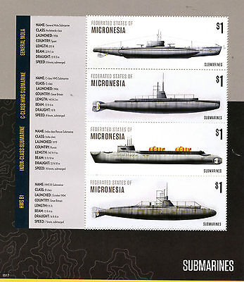 Micronesia 2015 MNH Submarines 4v M/S II Boats Ships General Mola HMS B1 Stamps