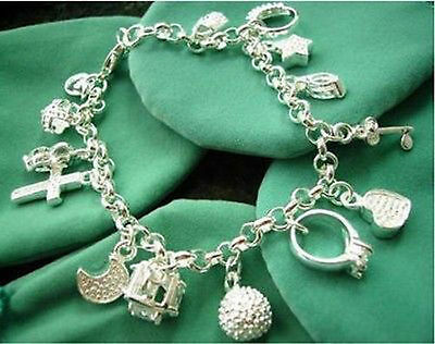 925 SILVER CHARM bracelet with 13 charms in gift bag