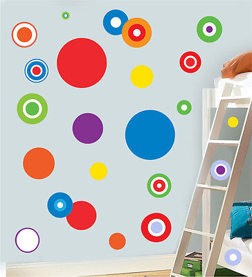 Colourful Circles Multipack - Pack of 22 Wall Art Stickers Decals Dots Murals