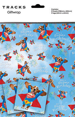 Basset Hound Gift Wrap 2 Sheets + 2 Tags Superdog Take Off, Dog Wrapping Paper