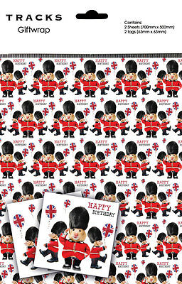 Hamster Gift Wrap 2 Sheets + 2 Tags The Queen's Guard Birthday Wrapping Paper