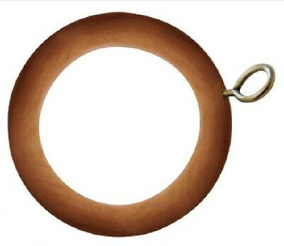 WOOD WOODEN CURTAIN HANGING POLES POLE RAIL TRACK RINGS Round With HOOKS