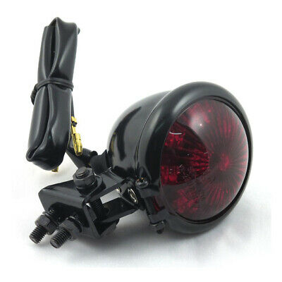 Old School Retro LED Tail Light Motorcycle/Trike - Black Casing Red Lens